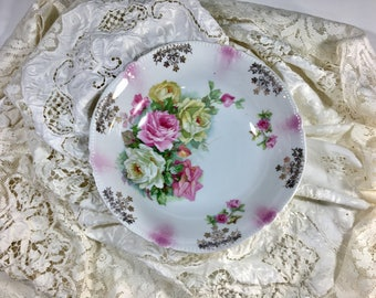 Antique German Bowl, Roses, Roses Bowl, Cabbage Roses, Shabby Chic, Lusterware