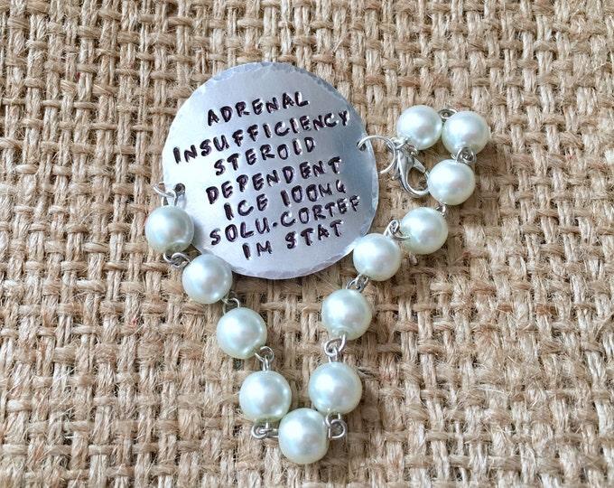 Pearl Medical ID, Pearl Alert Bracelet, Custom Medical Id, Medical ID Bracelet, Stamped ID Bracelet, Alert Bracelet, Diabetic Id Bracelet,