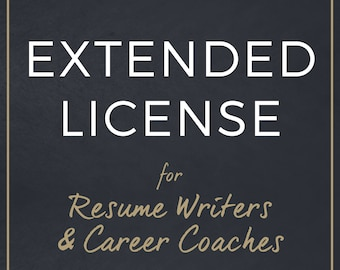 Extended License for Resume Writers and Career Coaches / Resume Template Commercial License for Resume Writing Services