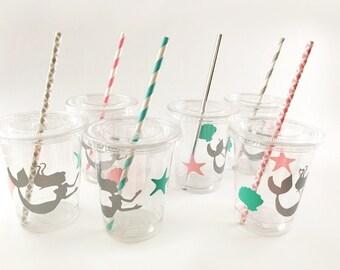 Mermaid Party Cups - Mermaid Birthday - Mermaid Baby Shower - Mermaid Cups - Mermaid Party - Mermaid Baby Shower Decorations - Birthday Cup