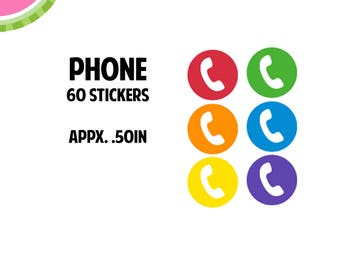 Phone Utility Icon Stickers   60 Kiss Cut Stickers   IC049