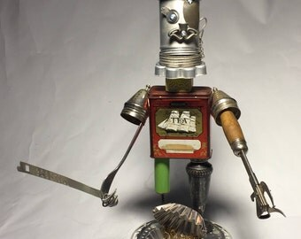 Pirate of Tin-Canz • Assemblage Art Robot Sculpture