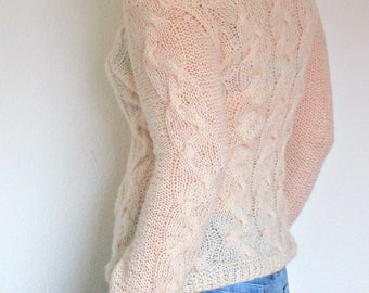 Cable Knit Sweater Cream Sweater Handmade Sweater Knitted