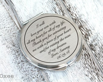 Personalized engraved pocket mirror | compact mirror | wedding gift | mother of the groom gift | birthday, i will love your son