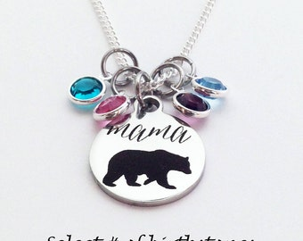 Mama Bear Necklace, Mama Bear, Mom Gifts, Mom Birthstone Necklace, Valentines Gift for Mom, Mama Bear Gifts, Mothers Day Gift, Mom Birthday