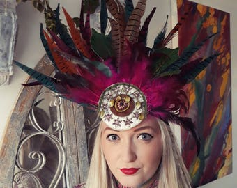 Forest Goddess. Feather and leaf Headpiece.