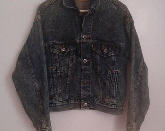 Vintage 1980's Levi's Red Tab Trucker Acid Wash Denim Jean Jacket 70508 0227 Sz XS Classic.