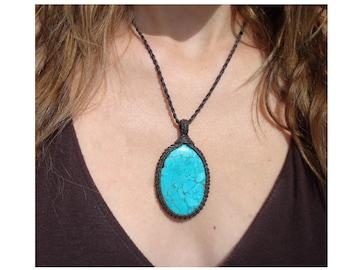 Turquoise Necklace/Throat Chakra/Macrame Jewelry/Divine Child/Turquoise Jewelry/Aqua Blue/Monkey/Gaia/Blue Stone Pendant/Turquoise Macrame