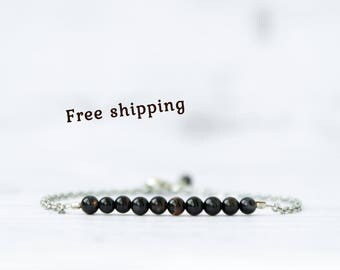 Black bracelet for women, Black bead bracelet for women, Black bracelet with stones, Black stone jewelry, Black stone bracelet