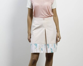 A-line skirt with pleat on the front, watermelon colors