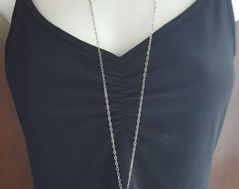 Necklace with Swarovski crystal in stainless steel, charm.