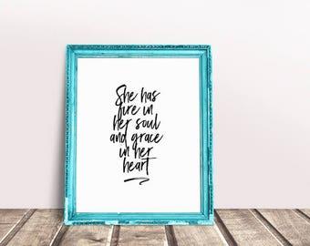 She Quote | Fearless, She is Fierce, Fierce Quote, She Believed, Slay Quote, She is Fierce Art, Fierce Wall Art, Fierce Girl, fire and Grace