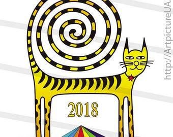 The wall calendar is 2018. Mystical cat, spiral tail. Format A2. 42x60 cm