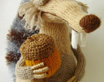 Angry squirrel Ice Age Protein and acorn Squirrel Knitted toy Plush protein Beige protein Cartoon character Squirrel art Gift