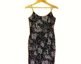 Vintage 70s ZUM ZUM Velvet & Rhinestone Sparkling Burgundy Formal Dress - Size S