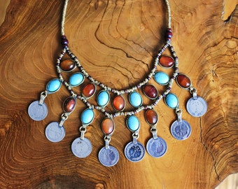 Aqeeq/Akeek/Turquoise Bib Necklace- Coin Necklace- Statement Necklace- Tribal Jewelry- Kuchi Afghan- Hippie- Ethnic- Bohemian- Gypsy