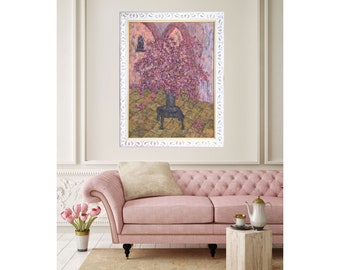 Flower Painting, Pink Bouquet, Canvas Giclée Print, Wall Art, Still Life, Impressionist Style, Modern Art, Pink Floral Painting, Cosy Home