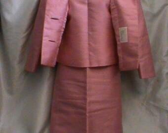 Paul Blumenstein Couture Vintage Silk Shantung Pink 3 Piece outfit Medium