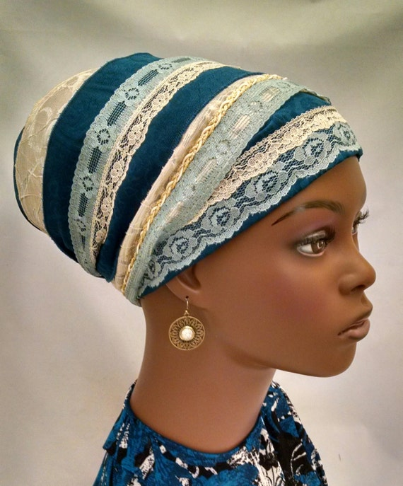 Rows of lace teal sinar tichel, tichels, chemo scarves, head scarves, hair snoods