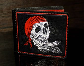 Hand-tooled leather wallet, biker leather wallet, skull wallet, carved wallet, tooled wallet, mens wallet, men leather wallet, biker wallet