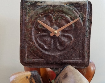 Lucky clover -Salvaged, repurposed ceiling tin tile clock unique home decor