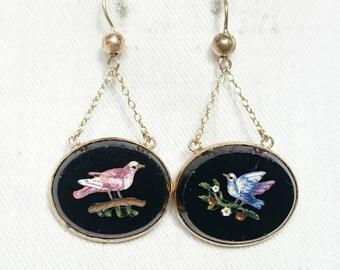 Antique Micro Mosaic Bird Earrings in Gold, Italy, Grand Tour Souvenir