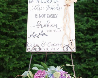 A Cord Of Three Strands Sign, A Cord of 3 Strands,Personalized Wood Decor, Wedding Ceremony Sign, Unity Ceremony Sign,Ecclesiastes 4:9-12