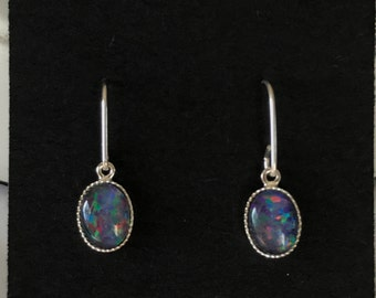 Australian Opal sterling silver earrings
