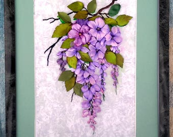 Beautiful picture of a wisteria of wisteria embroidered, with wisteria ribbons a picture of a housewarming, a gift for all, Embroidery of