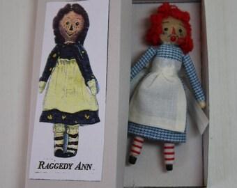 Dollhouse Miniature Handmade Raggedy Ann Doll & Vintage Box (1/12 Scale)