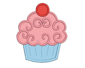 cute cupcake applique embroidery machine design 3 sizes included all machine formats instant download