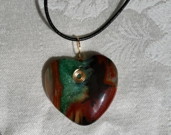 Green Heart Agate Leather Necklace, natural stone pendant