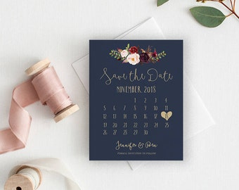 Calendar save the date, calendar, save the date card, save the date magnet, rustic save the date, save the date cards LUCY