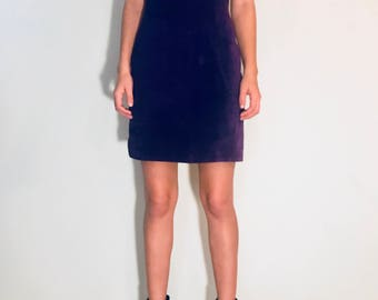 purple suede VINTAGE tank dress by Maggie Lawrence