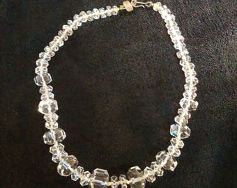 Vintage Clear Glass Bead Necklace, gift for mom, free shipping
