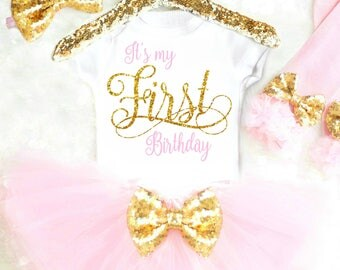 First Birthday Outfit 2nd Birthday Outfit 3rd Birthday 4th Birthday Outfit Pink and Gold Outfit My First Birthday Outfit 5th Birthday 6th 15