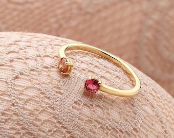 Birthstone Ring - Dual Birthstone Ring - Personalized Ring - Birthstone Jewelry - His and Her Birthstone Ring