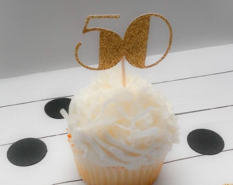 50th Birthday Cupcake Toppers, 50th Anniversary Cupcake Toppers, Silver, Gold, 50th Anniversary, 50th Birthday, Cake Toppers, 50's Cupcake