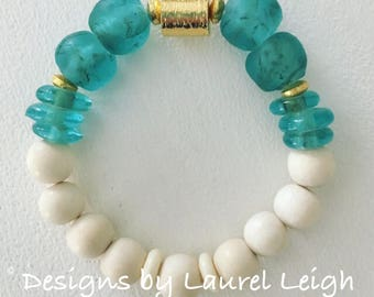 GOLD and BLUE AMAZONITE Beaded Bracelet | white, gemstone, aqua, high quality, gold plated, stretchy, Designs by Laurel Leigh