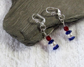 Blue, White and Red Glass Bead Dangle  Earrings - Patriotic Inspired Festive Earrings - Fourth of July Jewelry - Veteran Themed Earrings