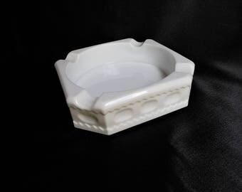 White Milk Glass Ashtray - Vintage Ashtray