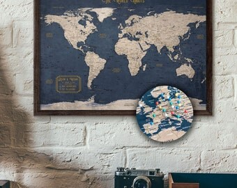Travel map etsy push pin map personalized travel map executive style 13x19 pin board gumiabroncs Image collections