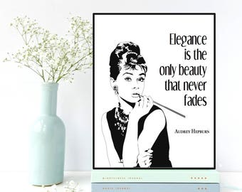 Audrey Hepburn wall art, Audrey Hepburn quote, Fashion wall art, Fashion decor, Fashion quote, Women gift, Girls room decor, Fashion print