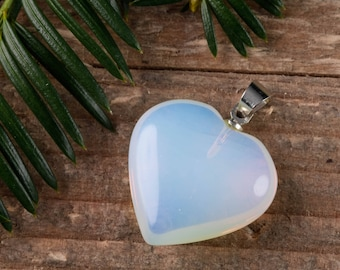 One Small OPALITE Heart Pendant - Silver Tone Pendant, Opalite Pendant, Opalite Jewelry, Heart Necklace Opalite, Crystal Necklace E0663
