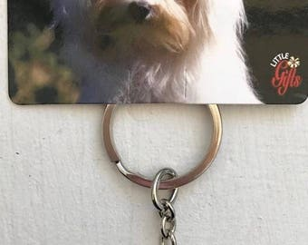 "NEW metal dog Maltese key chain ring 4"" little gifts"