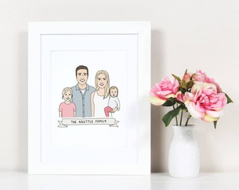 Custom Family Portrait Personalized, Family Portrait Printable, Custom Family Portrait Illustration, Family Art Print, Custom Portrait