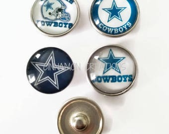 Dallas Cowboys Glass Snap Charms/Buttons, Sports Team Snap Buttons, 18mm-20mm, Fits Ginger Snap & Noosa Snap Jewelry