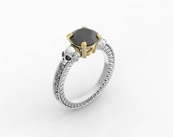 Skull engagement ring, skull wedding ring women, Gothic engagement ring, vintage skull ring, vintage gothic, black diamond skull ring