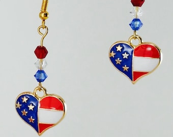 American Flag Heart Charm Earrings FREE SHIPPING Gold Earrings Patriotic Earrings Red White and Blue Jewelry 4th of July Earrings Veterans