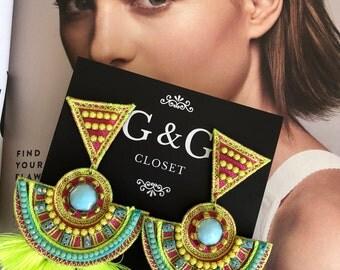 Neon Turquoise Tassel Earrings, Bohemian Earrings, Wholesale Earrings, Boho Jewelry, Threader earring, Boho Ethnic, Neon Jewelry, Boho-Chic
